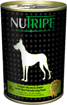 Nutripe Venison and Lamb with Green Tripe Canned Dog Food, Nutripe Online Singapore, Canned Dog Food, Nutripe Venison Viscera & Green Lamb Tripe Formula Dog Food