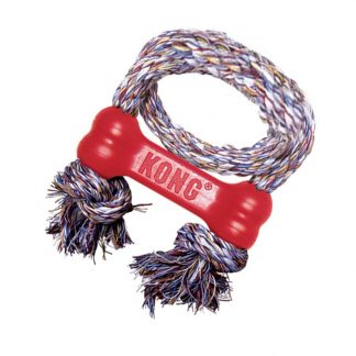 KONG - Classic Rubber Toy - Classic Kong Goodie Bone with Rope
