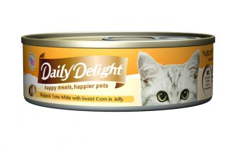 Daily Delight Cat Cans - Skipjack Tuna White with Sweet Corn in Jelly